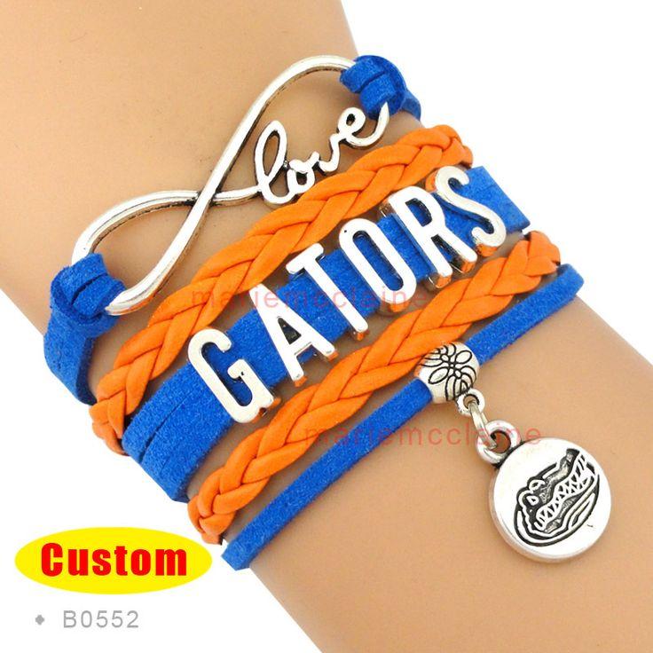 (10 Pieces/Lot) Infinity Love Florida Gators Team Bracelet National Collegiate Athletic Association Orange Blue Customizable
