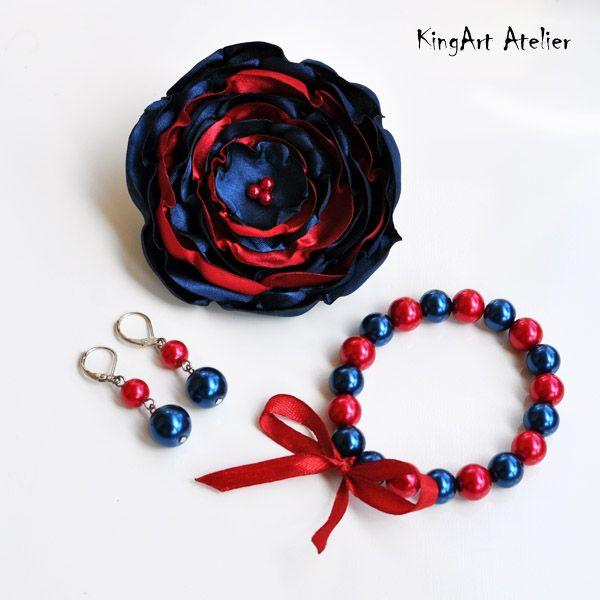 Red & navy blue handmade custom order set by KingArt Atelier