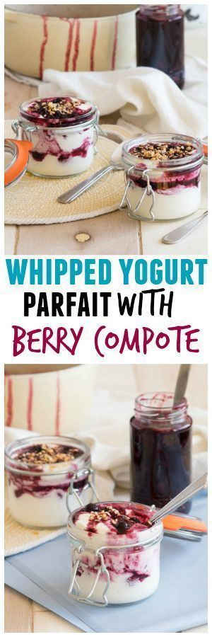 Delicious, healthy breakfast recipe! An easy and delightful whipped yogurt parfait with berry compote. Simple and tasty recipe ready in just 25 minutes! Recipe by The Worktop // Rhubarbarians