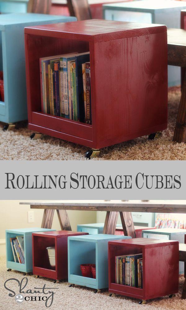 DIY Rolling Storage Cubby Cube