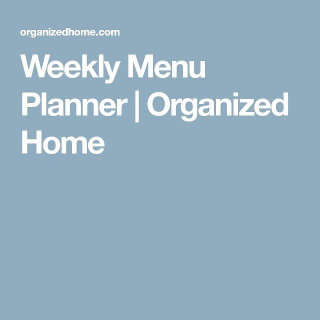 Weekly Menu Planner | Organized Home