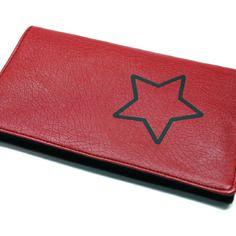 Porte-chéquier rouge en simili cuir format portefeuille