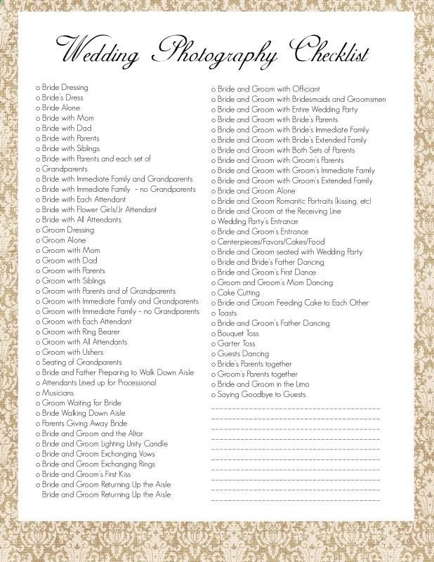 Wedding Photography Checklist. I wouldnt use ALL of these, but its a place to start to make your own list :)