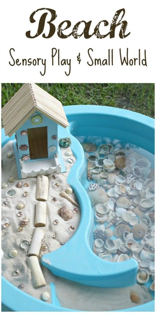 Beach Sensory Play and Small World, great for getting descriptive words for literacy.