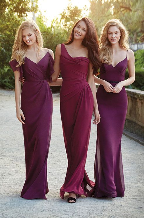 Dark Purple And Plum Chiffon A Line Bridesmaid Dresses By Jim Hjelm Occasions Spring 2017 Bridesmaids In 2018 Pinterest
