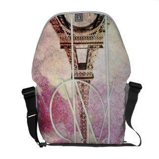 Girly pink, purple damask Eiffel Tower, Paris Messenger Bags