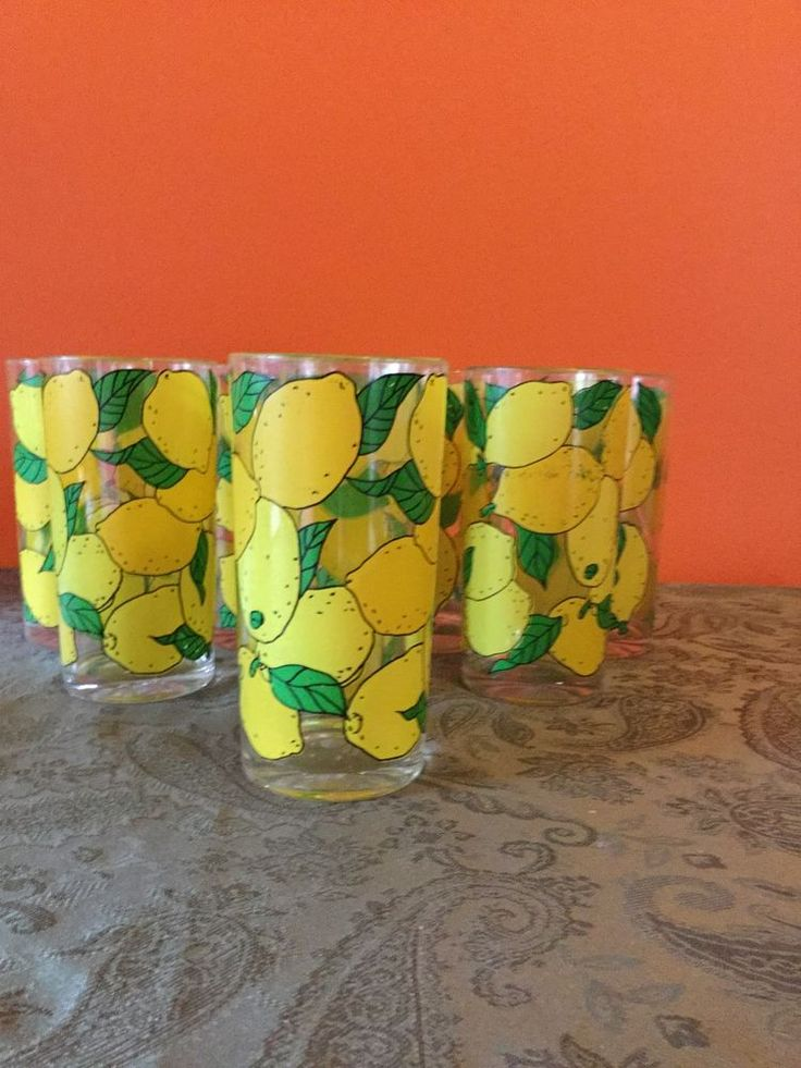Vintage H J Stotter Lemon Acrylic Drinking Glasses Set Of Eight Lemon Kitchen Decorsunflower