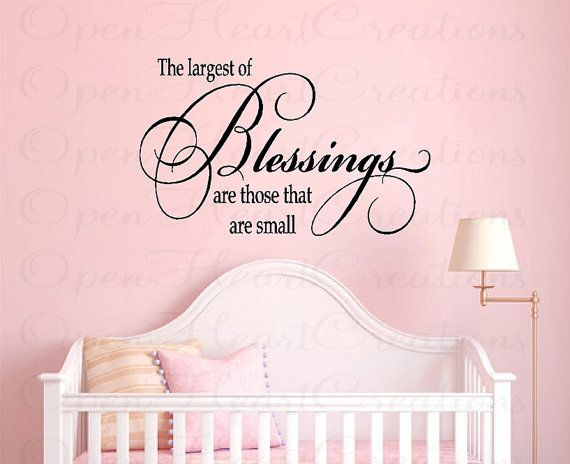 Nursery Wall Quotes - Baby Nursery Vinyl Wall Decals - Baby Sayings for Nursery - Girl or Boy Nursery Decor (LARGE) 22h x 36w QT0251