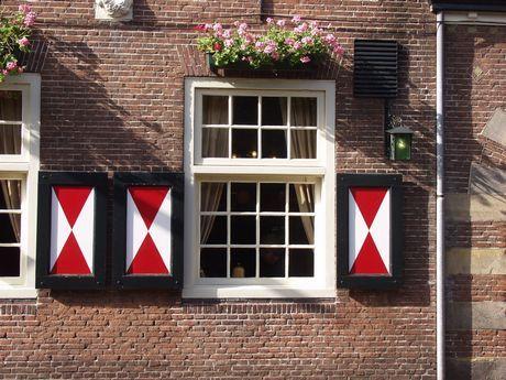 The window shutters (luiken), like seen here, are very typical Dutch - Especially on an old farm house (boerderij).: Window Shutters, Oude Ramen, Details Window, Farmhouse Restoration, Doors Window, Old Farms Houses, Oud Ramen, Houses Boerderij, Dutch Shutters