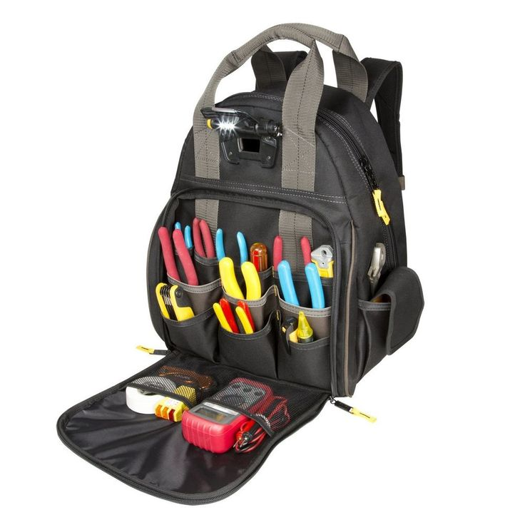 Backpack Tool Bag Lighted Carrier 52 Pocket Organizer For Electricians HVAC Tech #CustomLeathercraft