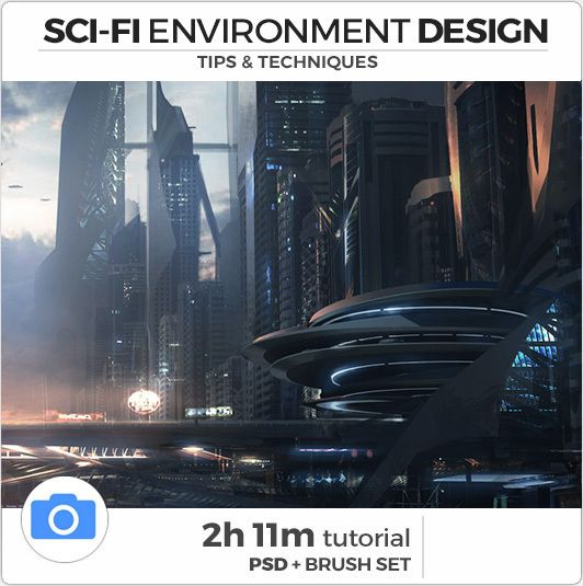Includes: - 2h 11m Voiced Video (1080p). - Hi-Res Work PSD. - Extensive Brush Set. Description: In this tutorial you will learn a range of techniques that will help your workflow when creating sci-fi environments. We will start from a photo plate and learn how to turn it into a futuristic cityscape. Topics Covered: Photomatching A Perspective Grid, Using B&W Thumbnails, Photobashing and Manipulation, Sci-Fi Lasso Painting, Lighting Techniques, Lens FX & Grading.