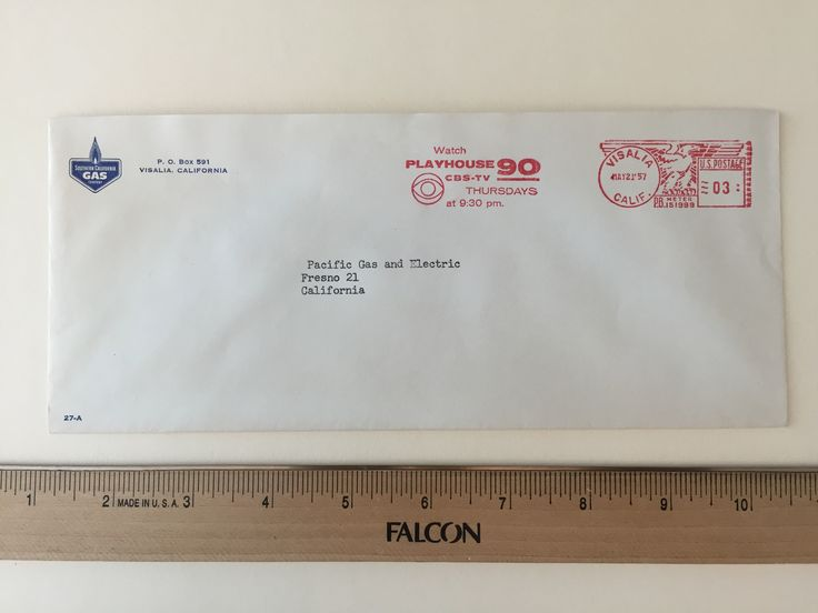"""Item: fc_19570521_2 Business cover approx. 4""""x 9 ½"""" Condition: excellent  Southern California Gas Company P.O. Box 591 Visalia, California  Postage Meter: VISALIA MAY 21'57 CALIF. P.B. METER 151999 US POSTAGE 03 Slogan Cancel: Watch PLAYHOUSE 90 CBS-TV THURSDAYS at 9:30 pm.  Addressee: Pacific Gas and Electric Fresno 21 California"""