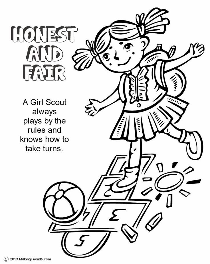Girl Scouts Honest and Fair. Print this page and have the girls color it in. Print them all for each petal and make a coloring book. For them all see MakingFriends.com