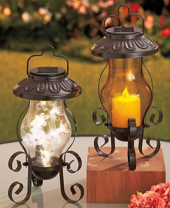 Patio Solar Lanterns Hang Or Table Top Amber With Candle Or Clear With  Flowers