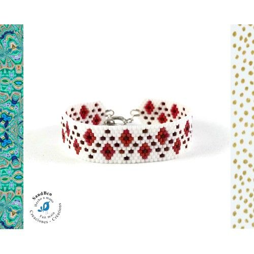 Bracelet Manchette Tissé à la Main, Perles en verre, Blanc Rouge, Géométrique, Manchette, Cadeau fête des mères, Cadeau D'Anniversaire Femme