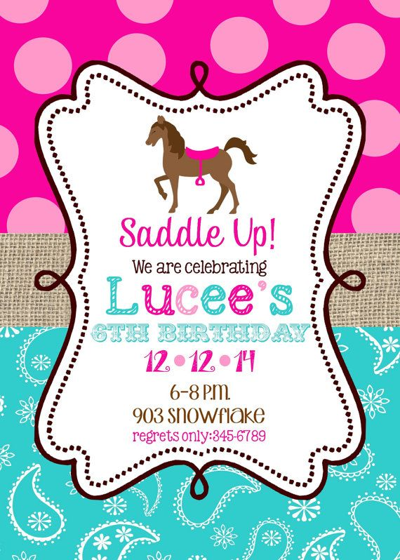 Horse Birthday Party Invitations Printable Or By Noteablechic