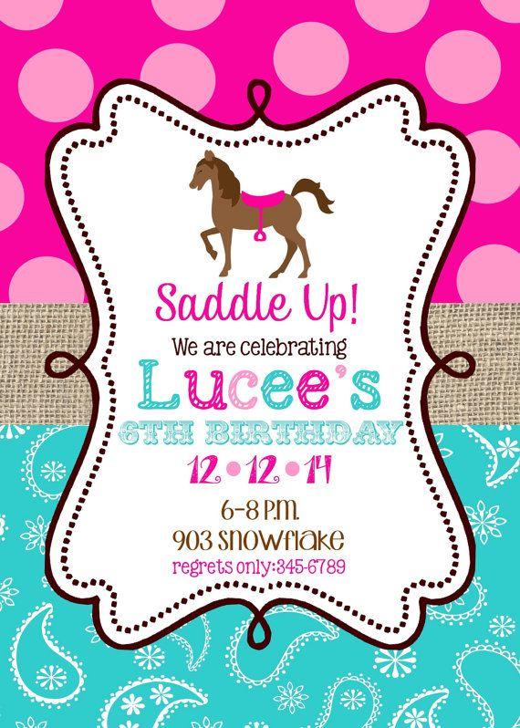 Horse  Birthday Party invitations printable or digital file- Pony- horseback riding on Etsy, $10.00