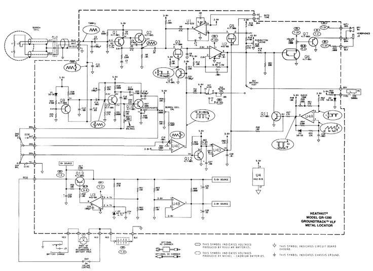Schematic diagram of the Heathkit GR-1290 VLF metal detector