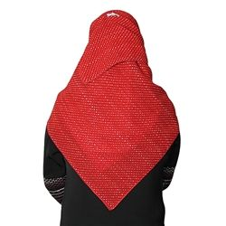 Red Colored Hijab with White Polka Dots Designed Square Scarf