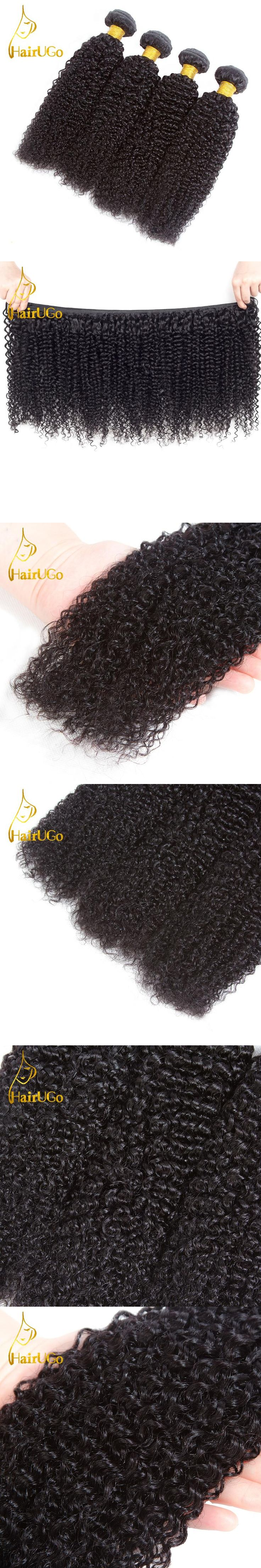 HairUGo Hair pre-colored Malaysian 3PCS kinky Curly Weave Human Hair Wave Bundles Non Remy Hair In Extension Hair Weave