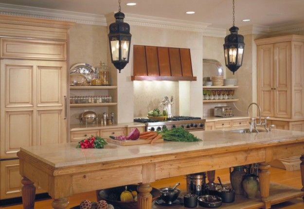 French Country Kitchen - Love the pine island and the copper hood