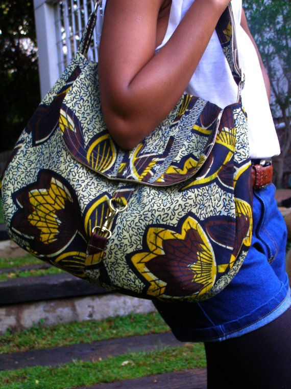 Handmade messenger bag made from african print fabric