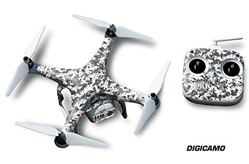 State of the art PVC crystal clear over lam on thick proprietary decal materialDigitally cut to fit DJI Phantom 2 (Drone not included)All templates are hand made and digitally scanned to fit industry standards Designer decal wrap skin for DJI Phantom 2 Digi Camo Quadcopter Drone  White
