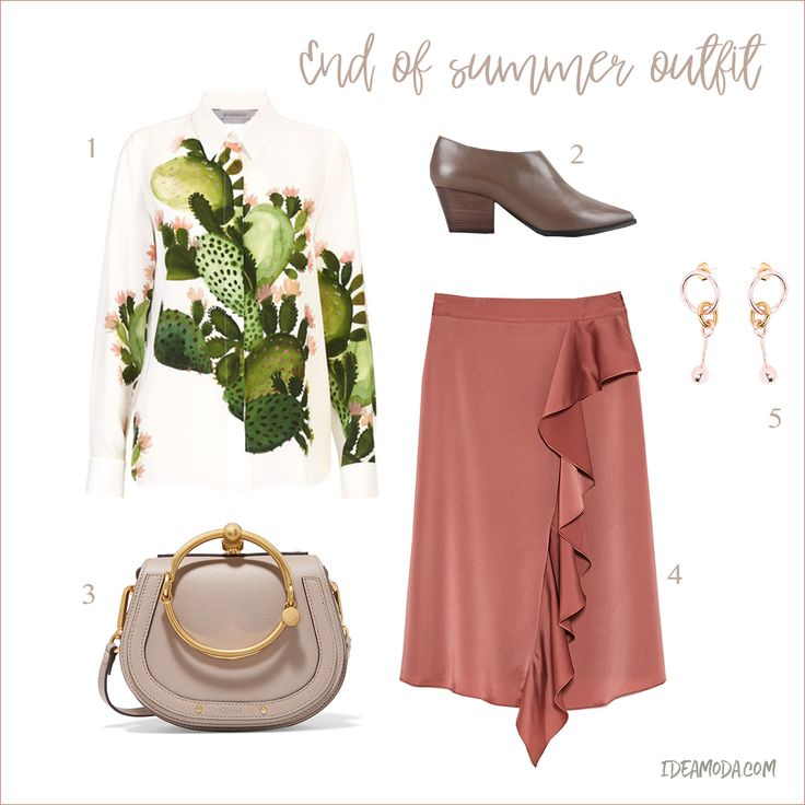 1. Blouse from Sportmax         2. Boots from Armani  3. Bag from Chloé via Net-A-Porter 4. Skirt from Zara 5. Earrings from Maria Francesca Pepe via Yoox Have a great day! ♥ #shopping #fashion #outfit #endofsummer #printedblouse #colorful #leatherbag