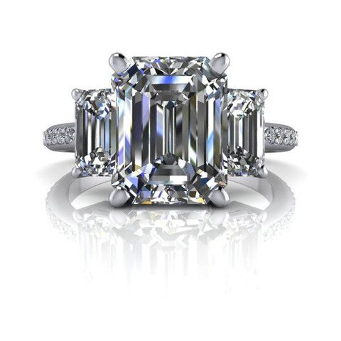 READY TO SHIP! Francesca Three Stone Engagement Ring Russian Brilliants Emerald Cut 4.5 CTW