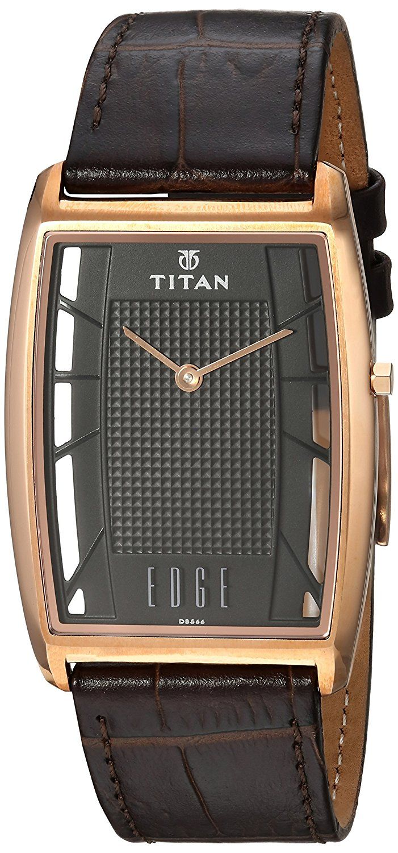 #Titan Men's Edge #Brown Quartz Leather #DressWatch (1575WL01)   #MenFashion