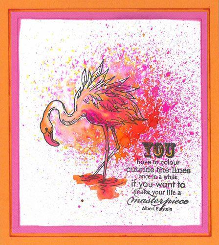 Stamp-it Australia: 4947E Flamingo, siset 103 wording, Dylusion Sprays - Card by Susan