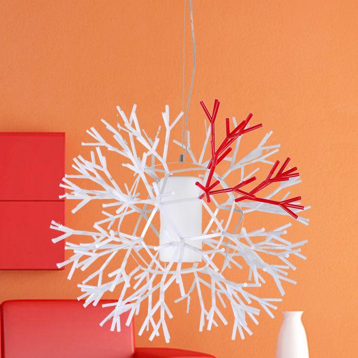 Coral. Lámpara de techo coral es una familia de lámparas compuestas por un elemento modular, con una forma particular que recuerda una rama de coral marino. Pantalla realizada en policarbonato moldeado por inyección. E27 1 x 70W Incluida. Diseñador: Palluco. http://www.lamparasoliva.com/outlet/coral-palluco.html