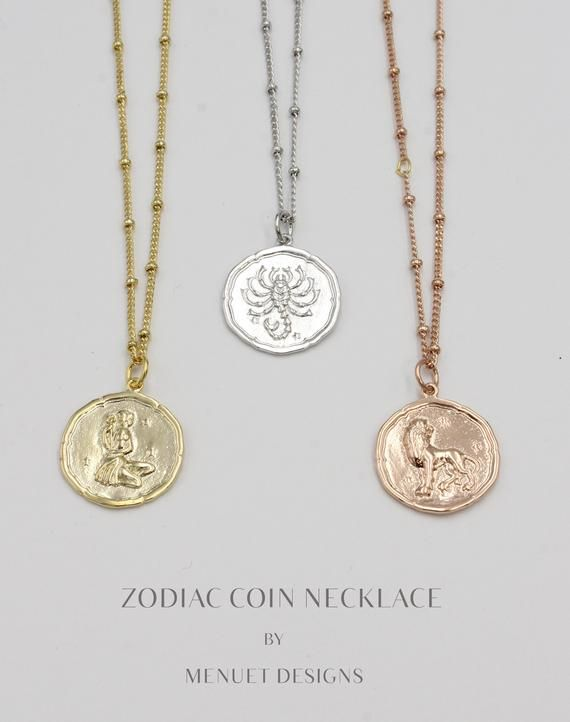 109816a610df0 Zodiac Coin Necklace | Three Colors | Sister Gift | Celestial ...