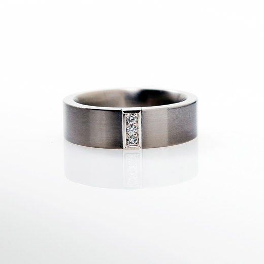 Palladium wedding band, mens diamond ring, men palladium band, wedding band, commitment ring, diamond, white gold, men ring. $1,100.00, via Etsy.