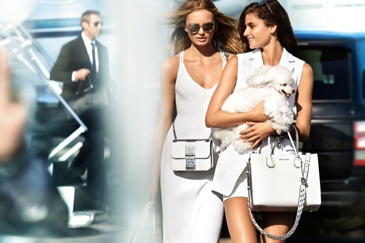 Dressed in white, Romee Strijd and Taylor Hill pose for MICHAEL Michael Kors spring 2017 campaign