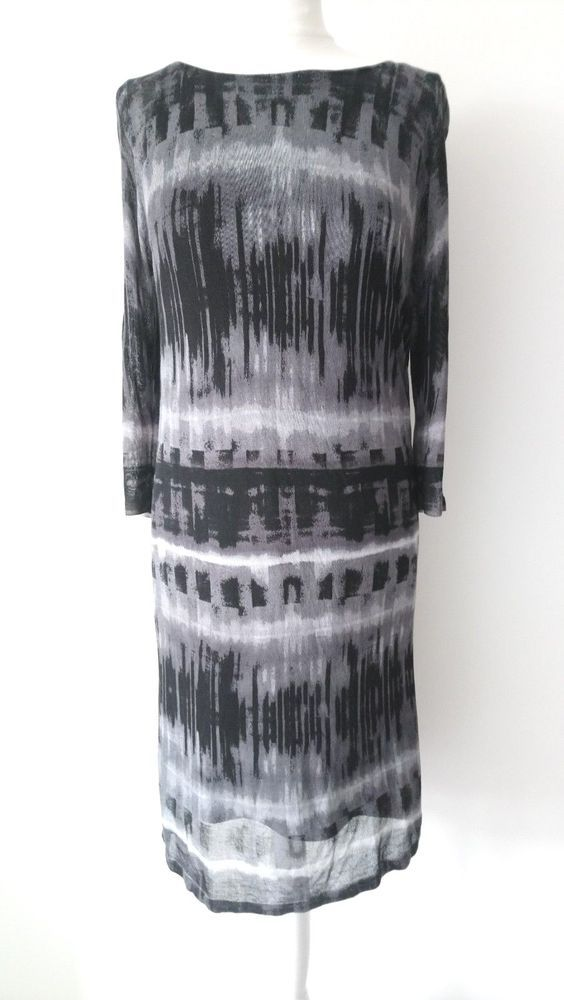 98905fc5429 PHASE EIGHT SIZE 10 LADIES BLACK   GREY FINE KNIT DRESS WITH ABSTRACT PRINT   fashion  clothing  shoes  accessories  womensclothing  dresses (ebay link)