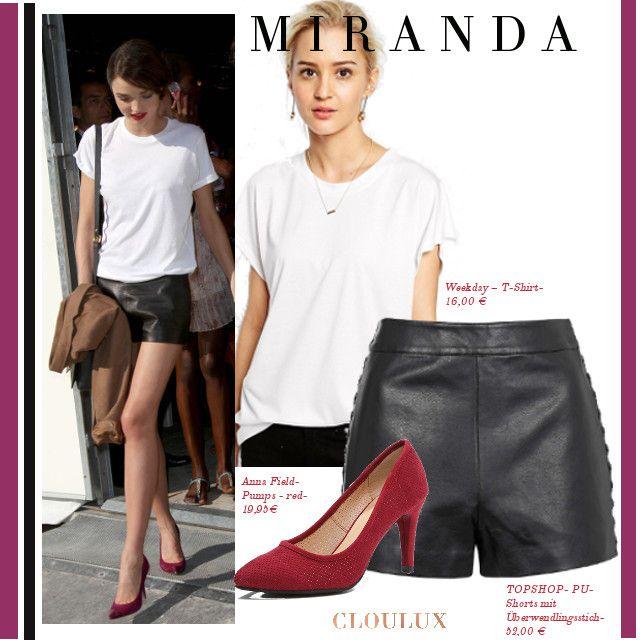 Miranda Kerr trägt eine coole schwarze Leder-shorts und dazu ein klassisches weißes T-Shirt. Die roten Pumps verleihen dem Look den nötigen Glamour!