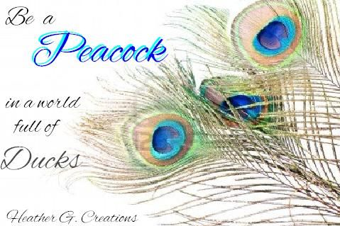 Be a #PEACOCK in a world full of Ducks   ( inspirational quotes , Be YOU , Originality , SHINE ) #HeatherG.Creations