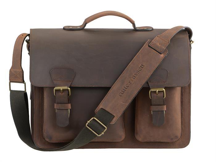 Aktentasche Herren Damen Leder mit 2 Fächern ranger braun Lehrertasche Businesstasche Arbeitstasche Tasche Notebooktasche