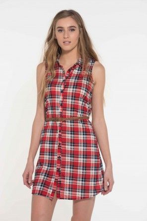 This red plaid button-down dress would be perfect to wear to a Canada Day party!