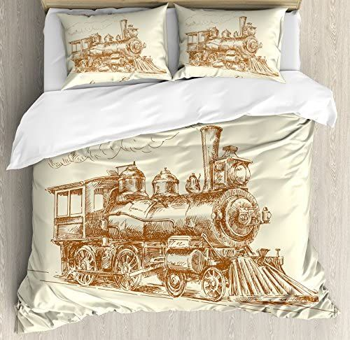 Ambesonne Steam Engine Duvet Cover Set Old Times Train Vintage Hand Drawn Iron Industrial Era Locomot Duvet Cover Sets Bed Duvet Covers Decorative Duvet Cover