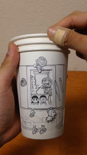 Amazing Animated Dragon Ball Z and Doraemon Comics Created Using Three Rotating Paper Cups