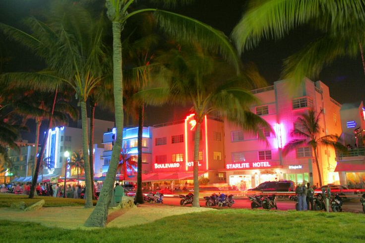 The Art-Deco District is an area of South Beach, Miami Florida is noted for its concentration of over 800 Art Deco buildings all within one square mile.