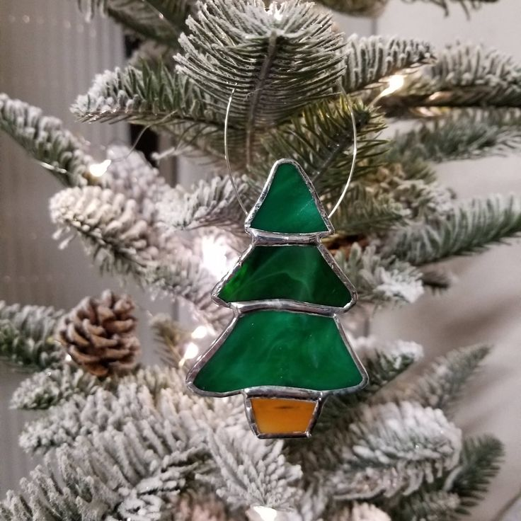 Green Stained Glass Christmas Tree by machellesglassgarden on Etsy
