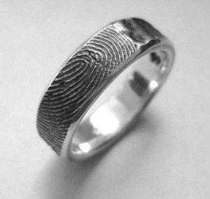 guys wedding band with fiance's fingerprint <3