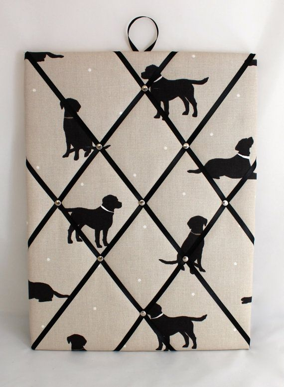 Fabric Pin Board in Black Labrador Dog Fabric  40cm x 30cm