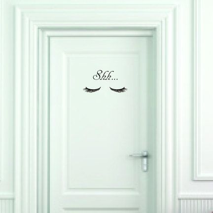 Shh Closed Eyes Vinyl Wall Decal Small Door Size by Apostrophe Decals, $10.00 great for your spa or salon. Thank you Pinterest viewers, here's a coupon code just for you! PinterestLove20