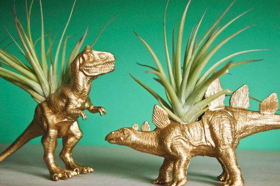 Gold Dinosaur Tillandsia Planters // Air Plant by Alycepaul, $27.00