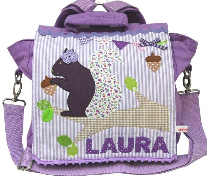 Kindergartenrucksack mit Namen - Eichhörnchen- von wohnzwerg   http://de.dawanda.com/product/90270183-kindergartenrucksack-mit-namen---eichhoernchen-