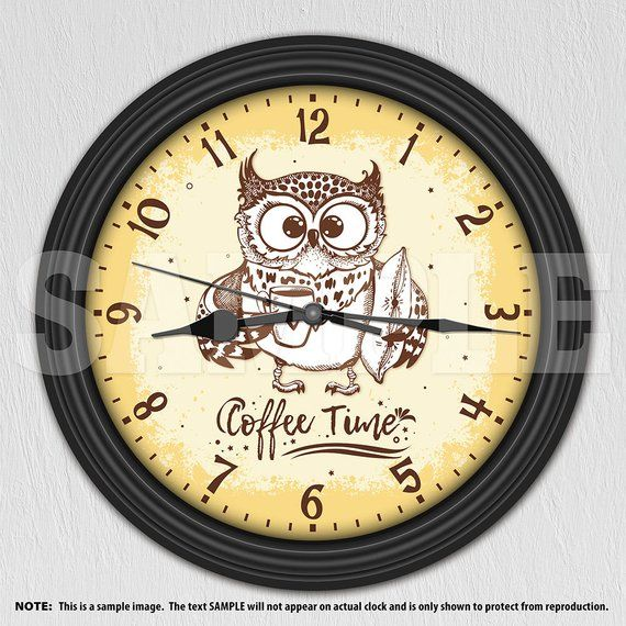 Owl Coffee Time Decorative Wall Clock Kitchen Decor Coffee
